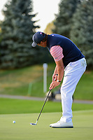 Phil Mickelson (USA) sinks his birdie putt on 18 to win the match during round 2 Four-Ball of the 2017 President's Cup, Liberty National Golf Club, Jersey City, New Jersey, USA. 9/29/2017.<br /> Picture: Golffile | Ken Murray<br /> <br /> All photo usage must carry mandatory copyright credit (&copy; Golffile | Ken Murray)