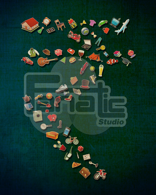 Illustrative image of Indian currency sign made of various objects on colored background