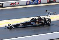 Sep 14, 2013; Charlotte, NC, USA; NHRA top alcohol dragster driver Ken Perry during qualifying for the Carolina Nationals at zMax Dragway. Mandatory Credit: Mark J. Rebilas-