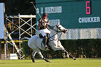 WELLINGTON, FL - DECEMBER 31:  Matt Coppola, the Most Valuable Player of the game, celebrates after scoring in The Tackeria's win of the Herbie Pennell Cup Final, at the International Polo Club Palm Beach, on December 31, 2017 in Wellington, Florida. (Photo by Liz Lamont/Eclipse Sportswire/Getty Images)