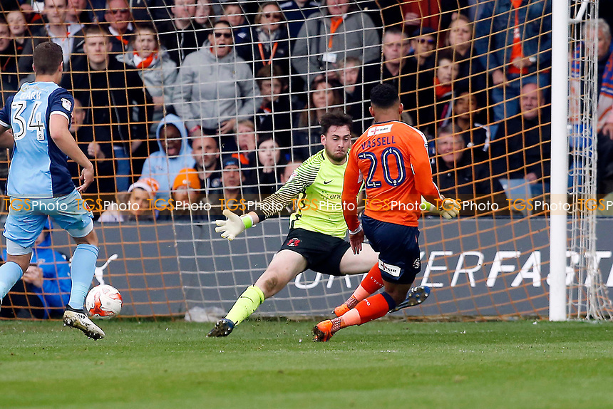 Luton's No.20 Isaac Vassell scores past Sam Sargeant to make it 2.2 during Luton Town vs Leyton Orient, Sky Bet EFL League 2 Football at Kenilworth Road on 14th April 2017