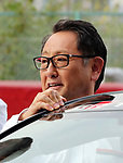 "September 19, 2017, Tokyo, Japan - Japanese automobile giant Toyota Motor president Akio Toyoda gets into Toyota 86 sports car to drive it after he introduced Toyota's sports car series ""GR sports"" from Gazoo racing at Toyota's showroom Megaweb in Tokyo on Tuesday, September 19, 2017. GR series are sports tuned Toyota's vehicle and seven models are started to sell from September 19 through Toyota's shops.    (Photo by Yoshio Tsunoda/AFLO) LWX -ytd-"
