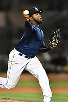 Pitcher Adonis Uceta (30) of the Columbia Fireflies delivers a pitch in a game against  the West Virginia Power on Thursday, May 18, 2017, at Spirit Communications Park in Columbia, South Carolina. Columbia won in 10 innings, 3-2. (Tom Priddy/Four Seam Images)