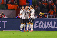 celebrate the goal, Torjubel zum 2:3 von Ilkay Gündogan (Deutschland, Germany), Marco Reus (Deutschland, Germany), Leroy Sane (Deutschland Germany) - 24.03.2019: Niederlande vs. Deutschland, EM-Qualifikation, Amsterdam Arena, DISCLAIMER: DFB regulations prohibit any use of photographs as image sequences and/or quasi-video.