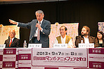 "April 24, 2013, Tokyo, Japan - The organizer of KYOMAF, Takayuki Mastutani speaks at ""Kyoto international Manga Anime Fair 2013"" press conference in Kabukiza Tower, Tokyo. In the press conference the organizers of KYOMAF, Mayor of Kyoto and Japan EXPO (in France) signed a document to collaborate together to promote the anime and manga culture in Europe and United States. The KYOMAF is the largest manga/anime fair in West Japan and will be free entrance for elementary school students and foreigners with passport. It will be held from September 6 to 8 at Miyako Messe, Kyoto. (Photo by Rodrigo Reyes Marin/AFLO).."