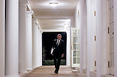 United States President Barack Obama walks on the Colonnade from the Oval Office to the White House residence with a binder full of potential supreme court nominees, Washington, DC, February 19, 2016. <br /> Credit: Aude Guerrucci / Pool via CNP