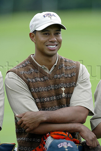 21 September 2006: American player Tiger Woods poses during the team photo for The 2006 Ryder Cup played at The K Club, Straffan, County Kildare, Ireland. Photo: Glyn Kirk/Actionplus....060921 golf golfer portrait