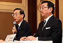 February 7, 2017, Tokyo, Japan - Japan's Honda Motor president Takahiro Hachigo (R) and Japan's electronics giant Hitachi's auto parts subsidiary Hitachi Automotive Systems president Hideaki Seki announce they agreed to form a joint venture to produce electric motors for vehicles at a press conference in Tokyo on Tuesday, February 7, 2017. The new electric vehicle motor company has plan to establish manufacture and sales bases subsidiaries in the United States and China.    (Photo by Yoshio Tsunoda/AFLO) LWX -ytd-