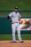Glendale Desert Dogs third baseman Nicky Delmonico (23) during an Arizona Fall League game against the Surprise Saguaros on October 23, 2015 at Salt River Fields at Talking Stick in Scottsdale, Arizona.  Glendale defeated Surprise 9-6.  (Mike Janes/Four Seam Images)