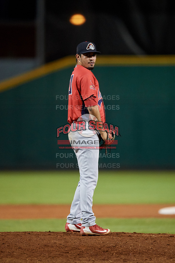 Peoria Chiefs relief pitcher Fabian Blanco (21) gets ready to deliver a pitch during a game against the Bowling Green Hot Rods on September 15, 2018 at Bowling Green Ballpark in Bowling Green, Kentucky.  Bowling Green defeated Peoria 6-1.  (Mike Janes/Four Seam Images)