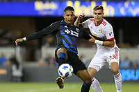 San Jose, CA - Saturday October 06, 2018: Danny Hoesen, Aaron Long during a Major League Soccer (MLS) match between the San Jose Earthquakes and the New York Red Bulls at Avaya Stadium.