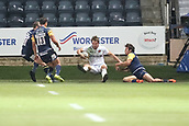 29th September 2017, Sixways Stadium, Worcester, England; Aviva Premiership Rugby, Worcester Warriors versus Saracens; Chris Wyles of Saracens tackled but already over the try line so is able to score
