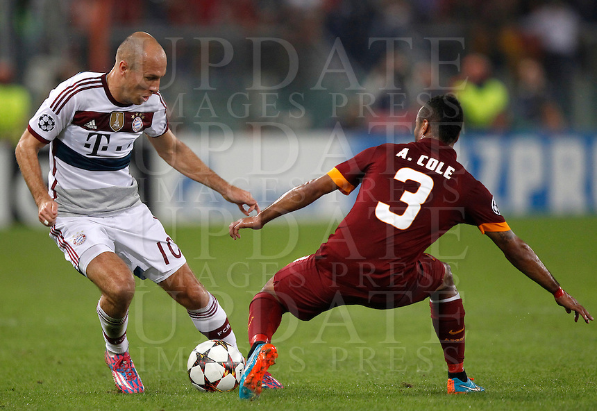 Calcio, Champions League, Gruppo E: Roma vs Bayern Monaco. Roma, stadio Olimpico, 21 ottobre 2014.<br /> Bayern&rsquo;s Arjen Robben is challenged by Roma&rsquo;s Ashley Cole, right, during the Group E Champions League football match between AS Roma and Bayern at Rome's Olympic stadium, 21 October 2014.<br /> UPDATE IMAGES PRESS/Isabella Bonotto