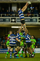Bath Rugby's Tom Ellis claims a line out<br /> <br /> Photographer Bob Bradford/CameraSport<br /> <br /> Anglo-Welsh Cup Semi Final - Bath Rugby v  Northampton Saints - Friday 9th March 2018 - The Recreation Ground - Bath<br /> <br /> World Copyright &copy; 2018 CameraSport. All rights reserved. 43 Linden Ave. Countesthorpe. Leicester. England. LE8 5PG - Tel: +44 (0) 116 277 4147 - admin@camerasport.com - www.camerasport.com