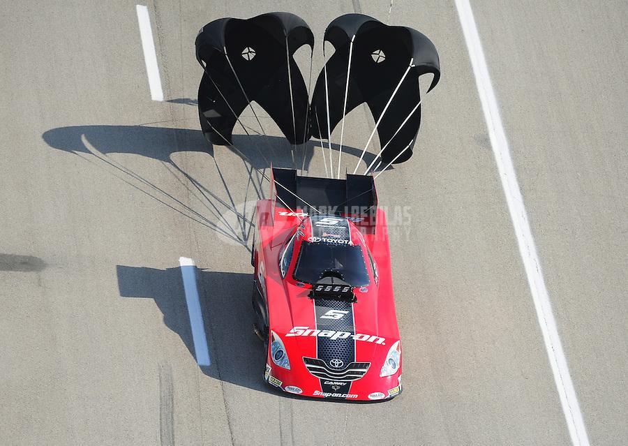 Apr. 28, 2012; Baytown, TX, USA: NHRA funny car driver Cruz Pedregon during qualifying for the Spring Nationals at Royal Purple Raceway. Mandatory Credit: Mark J. Rebilas-