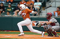 Texas Longhorns outfielder Weston Hall #7 follows through on his swing against the Oklahoma Sooners in the NCAA baseball game on April 5, 2013 at UFCU DischFalk Field in Austin Texas. Oklahoma defeated Texas 2-1. (Andrew Woolley/Four Seam Images).
