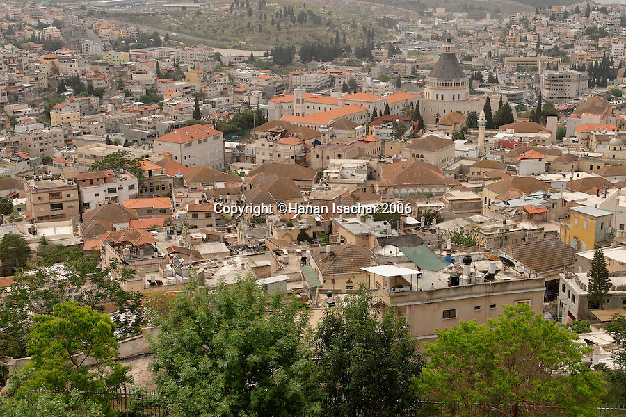 Israel, the Lower Galilee. A view of Nazareth and the Church of the Annunciation