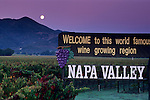 Moonset at dawn over vineyards and Welcome to Napa Valley sign, Napa County, California