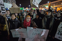 NEW YORK, NY - JANUARY 28: Protestors hold signs and chant during a demonstration against the Muslim immigration ban at John F. Kennedy International Airport on January 28, 2017 in New York City. President Trump signed an executive order to suspend refugee arrivals and people with valid visa from Iran, Iraq, Libya, Somalia, Sudan, Syria and Yemen. Photo by VIEWpress/Maite H. Mateo.