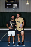 Petros Chrysochos (left) and Borna Gojo of the Wake Forest Demon Deacons pose with their trophies following the finals of the 2018 NCAA Men's Tennis Singles Championship at the Wake Forest Indoor Tennis Center on May 28, 2018 in Winston-Salem, North Carolina.  Petros Chrysochos defeated teammate Borna Gojo 6-3 6-3.  (Brian Westerholt/Sports On Film)