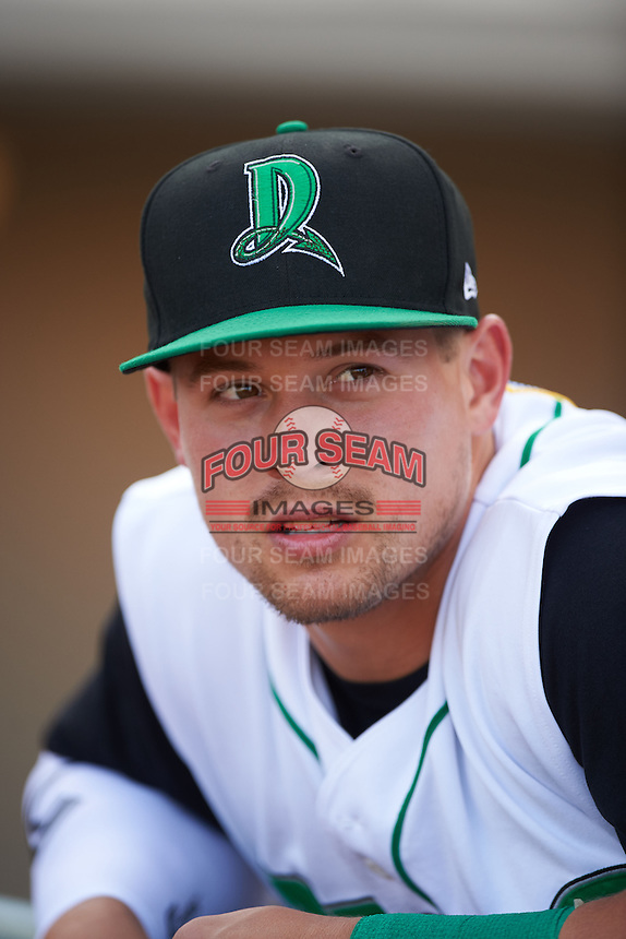 Dayton Dragons outfielder Brian O'Grady (21) in the dugout before a game against the Great Lakes Loons on May 21, 2015 at Fifth Third Field in Dayton, Ohio.  Great Lakes defeated Dayton 4-3.  (Mike Janes/Four Seam Images)