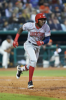 Juan Pascal (10) of the Hagerstown Suns hustles down the first base line against the Greensboro Grasshoppers at First National Bank Field on April 6, 2019 in Greensboro, North Carolina. The Suns defeated the Grasshoppers 6-5. (Brian Westerholt/Four Seam Images)