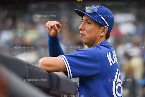 Munenori Kawasaki (Blue Jays), SEPTEMBER 13, 2015 - MLB : Munenori Kawasaki of the Toronto Blue Jays watches from the dugout in the eighth inning during the Major League Baseball game against the New York Yankees at Yankee Stadium in the Bronx, New York, United States. (Photo by Hiroaki Yamaguchi/AFLO)