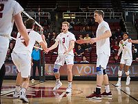 STANFORD, CA - January 17, 2019: Kyler Presho, Paul Bischoff, Eric Beatty, Jaylen Jasper at Maples Pavilion. The Stanford Cardinal defeated UC Irvine 27-25, 17-25, 25-22, and 27-25.