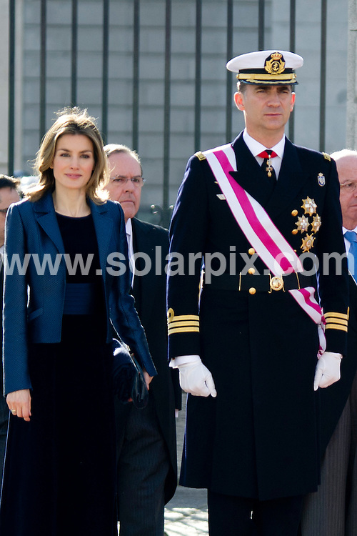 **ALL ROUND PICTURES FROM SOLARPIX.COM**                                             **WORLDWIDE SYNDICATION RIGHTS EXCEPT SPAIN - NO SYNDICATION IN SPAIN**                                                                                  King Juan Carlos and Queen Sofia, and the Princes of Asturias, Felipe and Letizia led this year's celebration of 'Pascua Militar' (Military Easter) at the Royal Palace in Madrid...Military Easter dates back to 1782, when the Spanish Military won a big battle in Mallorca on January 6, the Feast Day of the Epiphany. Since then, the day has been set aside to honor the military forces of Spain. Military parades and a ceremony are held every year at the palace. The King traditionally gives an address, flanked by members of his family.                                                                          .This pic:    Princes of Asturias, Felipe and Letizia                                                                                          JOB REF:  14338     DMS dolores       DATE:  06.01.12                                                          **MUST CREDIT SOLARPIX.COM OR DOUBLE FEE WILL BE CHARGED**                                                                      **MUST AGREE FEE BEFORE ONLINE USAGE**                               **CALL US ON: +34 952 811 768 or LOW RATE FROM UK 0844 617 7637**