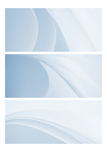 Triptych of modern abstract image of curves created by folded paper