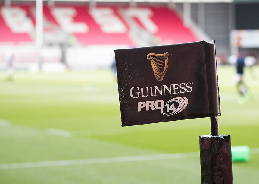 A general view of Parc Y Scarlets, home of Scarlets branding flag<br /> <br /> Photographer Simon King/CameraSport<br /> <br /> Guinness Pro14 Round 1 - Scarlets v Southern Kings - Saturday 2nd September 2017 - Parc y Scarlets - Llanelli, Wales<br /> <br /> World Copyright &copy; 2017 CameraSport. All rights reserved. 43 Linden Ave. Countesthorpe. Leicester. England. LE8 5PG - Tel: +44 (0) 116 277 4147 - admin@camerasport.com - www.camerasport.com