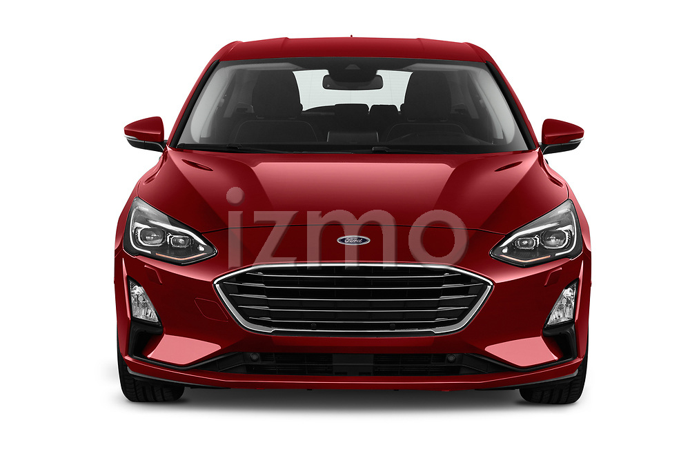 Car photography straight front view of a 2019 Ford Focus Titanium Business 5 Door Hatchback
