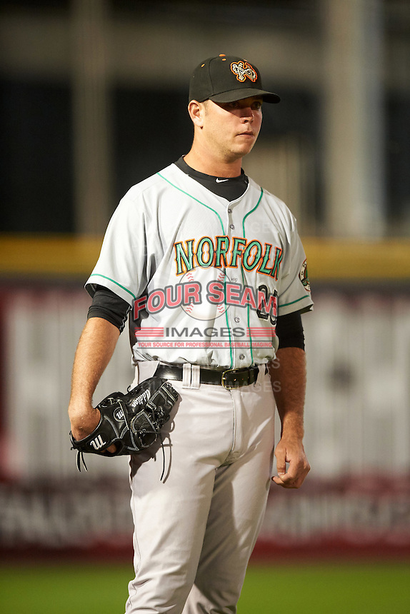 Norfolk Tides pitcher Nick Additon (25) during a game against the Buffalo Bisons on July 18, 2016 at Coca-Cola Field in Buffalo, New York.  Norfolk defeated Buffalo 11-8.  (Mike Janes/Four Seam Images)