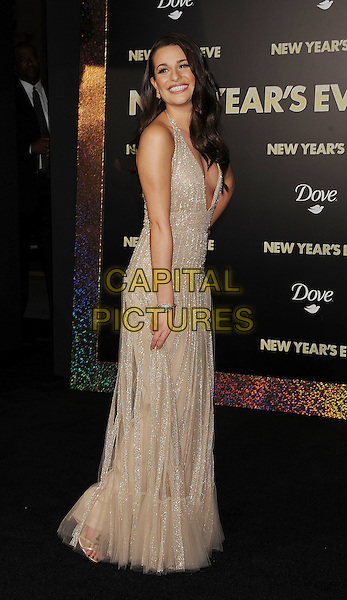 "Lea Michele.The World Premiere of ""New Year's Eve' held at The Grauman's Chinese Theatre in Hollywood, California, USA..December 5th, 2011.full length dress side beige gold sparkly halterneck plunging neckline cleavage .CAP/ROT/TM.©Tony Michaels/Roth Stock/Capital Pictures"