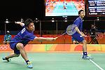 Hiroyuki Endo &amp; Kenichi Hayakawa (JPN),<br /> AUGUST 15, 2016 - Badminton : <br /> Men's Doubles Quarter-final<br /> at Riocentro - Pavilion 3<br /> during the Rio 2016 Olympic Games in Rio de Janeiro, Brazil. <br /> (Photo by Koji Aoki/AFLO SPORT)
