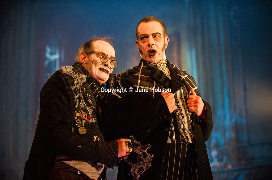 GREAT EXPECTATIONS opens at the Vaudeville Theatre. Directed by Graham McLaren, this is the first time there has been a production as a full-scale stage play either in the West End or Broadway. Picture shows: James Vaughan (Wemmick) and Jack Ellis (Jaggers).