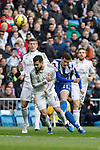 Real Madrid´s Nacho Fernandez and Deportivo de la Courna´s Oriol Riera during La Liga match at Santiago Bernabeu stadium in Madrid, Spain. February 14, 2015. (ALTERPHOTOS/Victor Blanco)
