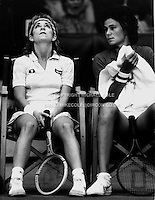 CHRIS EVERT (USA) &amp; PAM SHRIVER (USA)<br /> Indoor tournament circa 1981Chris Evert (USA)<br /> Copyright Michael Cole