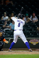 Zack Collins (8) of the Winston-Salem Dash at bat against the Buies Creek Astros at BB&T Ballpark on April 15, 2017 in Winston-Salem, North Carolina.  The Astros defeated the Dash 13-6.  (Brian Westerholt/Four Seam Images)
