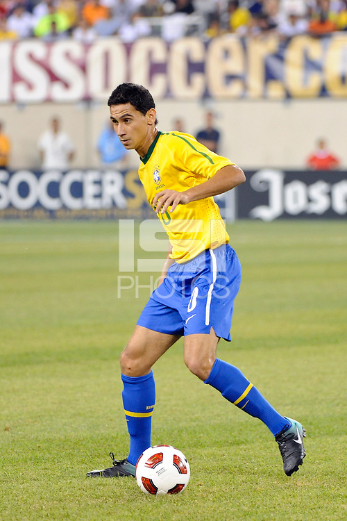 Paulo Henrique Ganso (10) of Brazil. The men's national team of Brazil (BRA) defeated the United States (USA) 2-0 during an international friendly at the New Meadowlands Stadium in East Rutherford, NJ, on August 10, 2010.