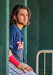 31 May 2018: New Hampshire Fisher Cats infielder Bo Bichette sits in the dugout during a game against the Portland Sea Dogs at Northeast Delta Dental Stadium in Manchester, NH. The Sea Dogs defeated the Fisher Cats 12-9 in extra innings. Mandatory Credit: Ed Wolfstein Photo *** RAW (NEF) Image File Available ***