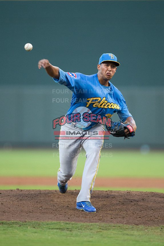 Myrtle Beach Pelicans starting pitcher Daury Torrez (38) delivers a pitch to the plate against the Winston-Salem Dash at BB&T Ballpark on August 20, 2015 in Winston-Salem, North Carolina.  The Dash defeated the Pelicans 5-4 on a walk-off wild pitch in the bottom of the 9th inning.  (Brian Westerholt/Four Seam Images)