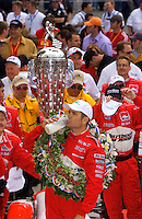 87th Indianapolis 500, Indianapolis Motor Speedway, Speedway, Indiana, USA  25 May,2003.Gil de Ferran drinks milk..World Copyright©F.Peirce Williams 2003 .ref: Digital Image Only..F. Peirce Williams .photography.P.O.Box 455 Eaton, OH 45320.p: 317.358.7326  e: fpwp@mac.com..