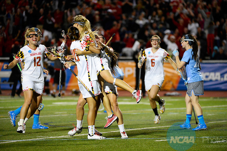 26 MAY 2013:  The University of North Carolina takes on the University of Maryland during the 2013 NCAA Women's Division I Lacrosse Championship held at Villanova Stadium on the campus of Villanova University in Villanova, PA. North Carolina defeated Maryland 13-12 in overtime to win the national title. Brett Wilhelm/NCAA Photos