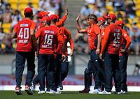 England's Sam Curran celebrates dismissing Colin Munro. Twenty20 International cricket match between NZ Black Caps and England at Westpac Stadium in Wellington, New Zealand on Sunday, 3 November 2019. Photo: Dave Lintott / lintottphoto.co.nz