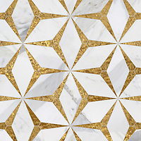 Cassiopeia, a waterjet cut stone mosaic, shown in polished Calacatta Gold and Gold Glass, is part of the Semplice® collection for New Ravenna.