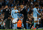 Bernardo Silva of Manchester City receives instructions from Josep Guardiola manager of Manchester City<br /> during the Premier League match at the Eithad Stadium, Manchester. Picture date 21st August 2017. Picture credit should read: Simon Bellis/Sportimage