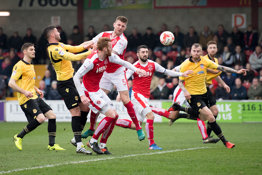 Fleetwood Town's Ashley Eastham tries to head the ball clear in a goal mouth scramble<br /> <br /> Photographer Terry Donnelly/CameraSport<br /> <br /> The EFL Sky Bet League One - Fleetwood Town v Bolton Wanderers - Saturday 11th March 2017 - Highbury Stadium - Fleetwood<br /> <br /> World Copyright &copy; 2017 CameraSport. All rights reserved. 43 Linden Ave. Countesthorpe. Leicester. England. LE8 5PG - Tel: +44 (0) 116 277 4147 - admin@camerasport.com - www.camerasport.com
