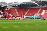 Fleetwood Town and Rotherham United's minutes applaud paying respects to Ray Wilkins during the Sky Bet League 1 match between Rotherham United and Fleetwood Town at the New York Stadium, Rotherham, England on 7 April 2018. Photo by Leila Coker.