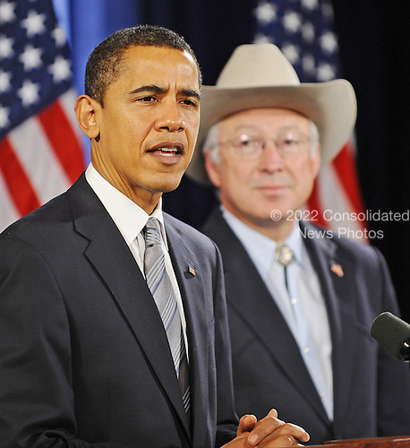 Chicago, IL - December 17, 2008 -- United States President-elect Barack Obama, left, introduces United States Senator Ken Salazar (Democrat of Colorado), right, as his choice for Secretary of the Interior at a news conference in the Drake Hotel in Chicago, Illinois, USA 17 December 2008. Obama continues to put together his administration as he prepares to take office on 20 January 2008..Credit: Tannen Maury - Pool via CNP